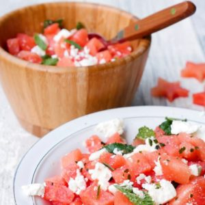 Watermelon salad with feta cheese _ homemade Mint-Pesto-2